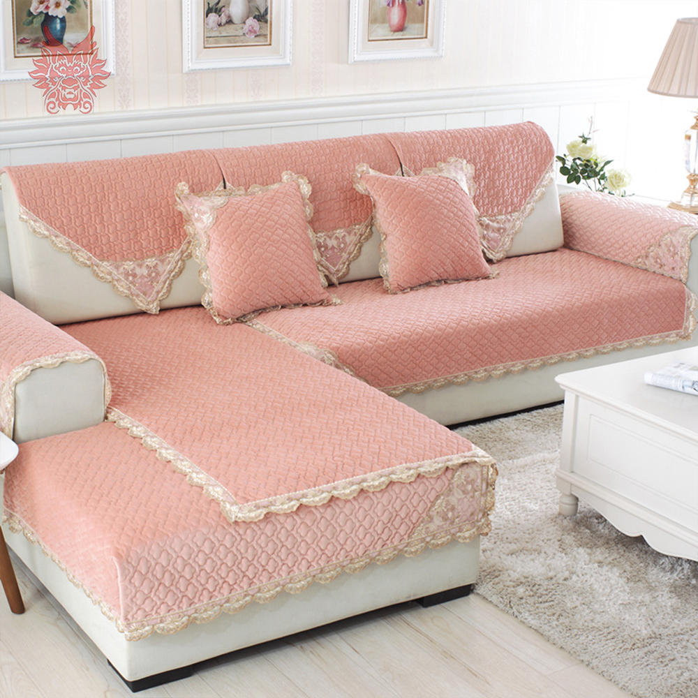 Pastoral style lace decor plush sofa cover green pink for Decoration canape