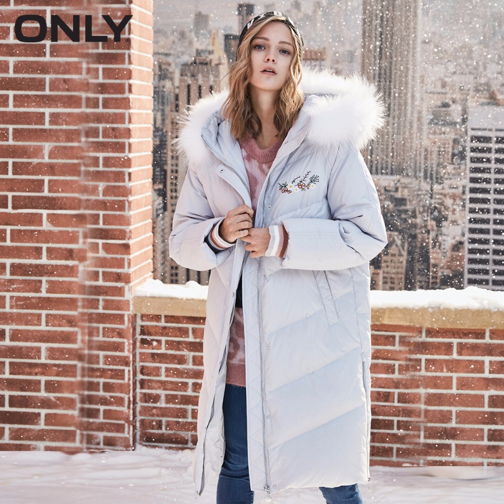 ONLY  Women's Raccoon Fur Collar Embroidered Down Jacket |118323533