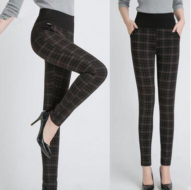 5XL 6XL 7XL 2016 Women Leggings Mid Waist Spring Fashion Cotton Slim Plaid Trousers Workout Pants Plus Size Leggings 4XL