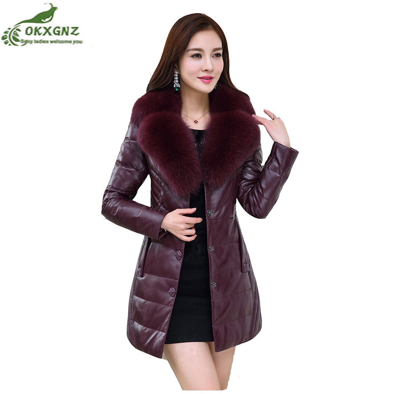 New autumn winter fur jacket coat women large size thickening middle-aged ladies leather coat medium long  warm Outerwear OKXGNZ