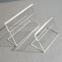 Venta al por mayor claro T2mm A4 A5 plástico acrílico letrero mostrar papel promoción tarjeta etiqueta para mesa soportes L soporte Horizontal 500 Uds