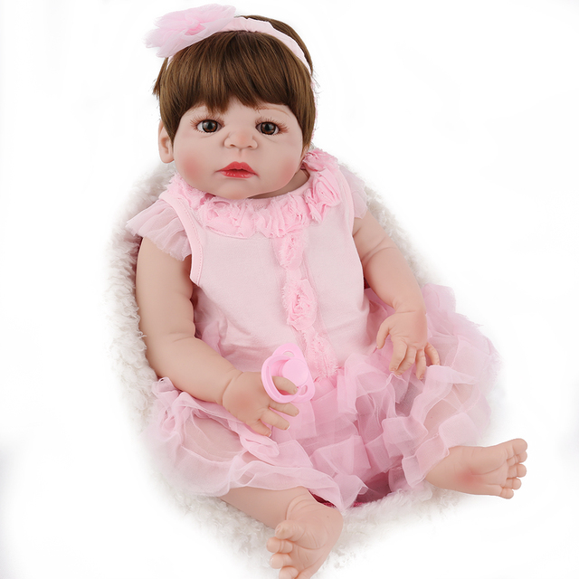 NPKDOLL 22 inch Reborn Doll Full Body Silicone  like Newborn Baby Best toy Gifts For Girls Pink Princess Clothes 55cm dolls