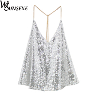Metal Sequined Cami Women Sexy Backless Deep V Neck Metallic Chain Sequin Top New Fashion Streetwear