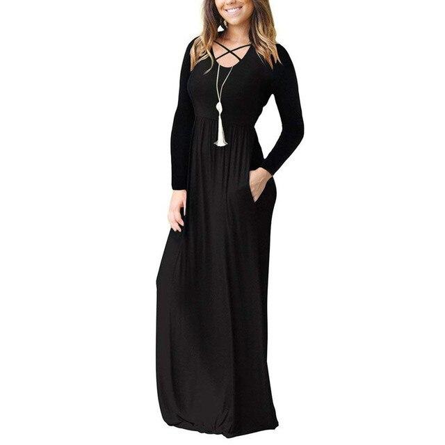 Autumn Winter Women Long Dress 2018 Gothic Solid Pockets Long Sleeve Maxi Dresses Vintage Cross Midi Dress Women Clothes 3