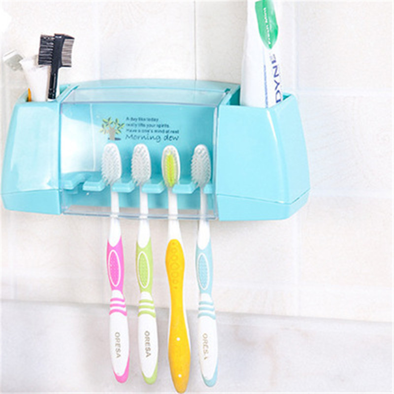 1pc Suction Hooks Toothbrush Holder Toothpaste Holder Bathroom Sets Tooth Brush Cup Container Bathroom Shelves Bath Accessories image