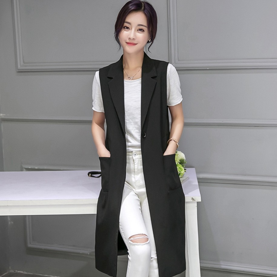 2018 Spring New Korean Version A Hundred Take Medium Long Windbreaker Suit Vest Fashion Trim Thin Jacket Wholesale Hair Women