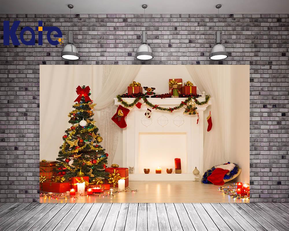 Kate No Wrinkles Photography Christmas Backdrops Indoor White Wall Photo Green Christmas Tree Red Gift Box Candle For Baby no name afm 1045a 3х9 м green white