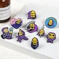Skeletor эмалированная булавка фиолетового цвета, значки с желтым черепом, мешочек для брошек, булавка для одежды, Классическая мультяшная бижу...