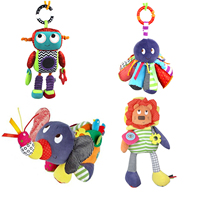 Baby Rattles Octopus Robot Elephant Lion Bed Hanging Bell For BB Magic Mirror Infant Doll Teether
