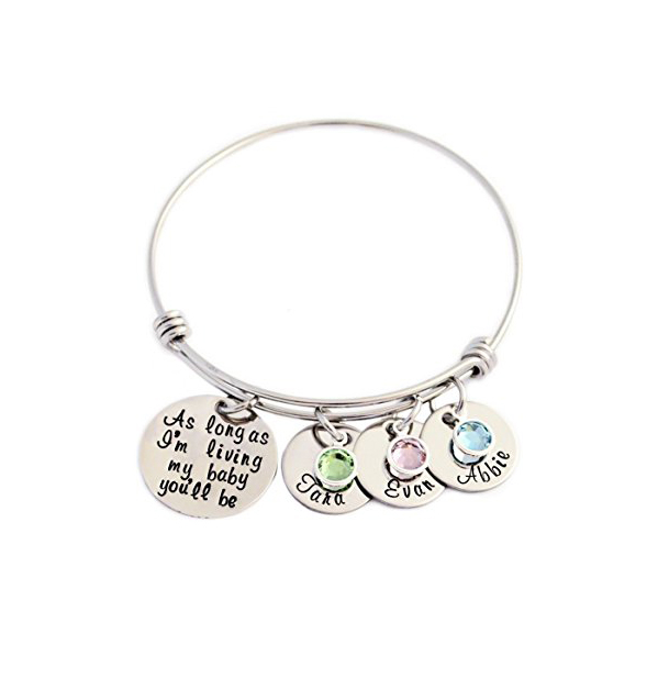 As long as I'm living my baby you'll be-Unique Birthstone Adjustable Bangle Can Custom Name Pulsera YP3136 (Drop shipping)