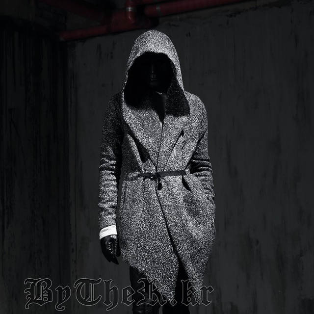 Autumn winter men gothic style hooded trench coat black punk personality  cloak robe mens woolen long f494c40f1