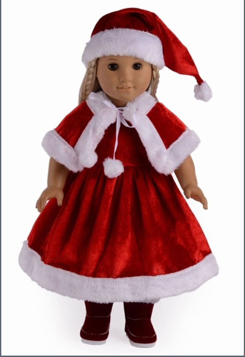 2016 New style Popular 18 inch American girl doll christmas clothes/dress for Christmas gift ABD-04 9 colors american girl doll dress 18 inch doll clothes and accessories dresses