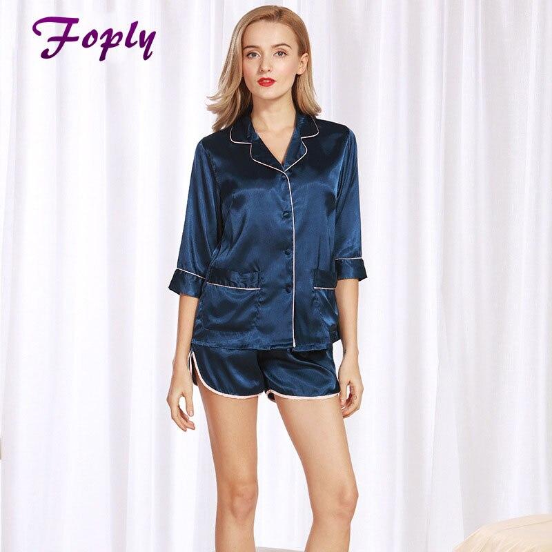 Foply Women Pajama Sets Summer 2017 Silky Ladies Pajamas Sho