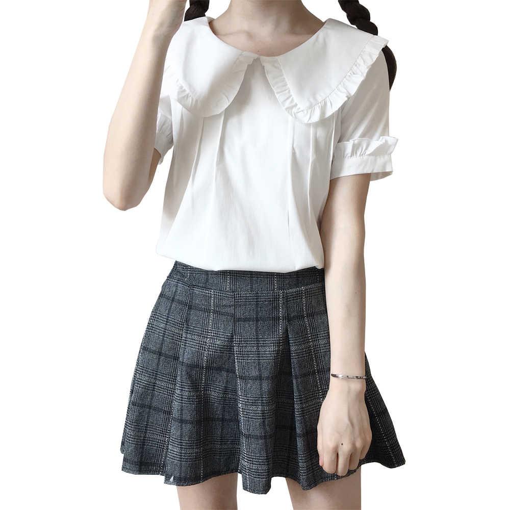 d6e67b8e769f2d Korean Sweet Lolita Blouses Shirt Short Sleeve Cute Peter Pan Collar White  Ruffle Blouse Top Female