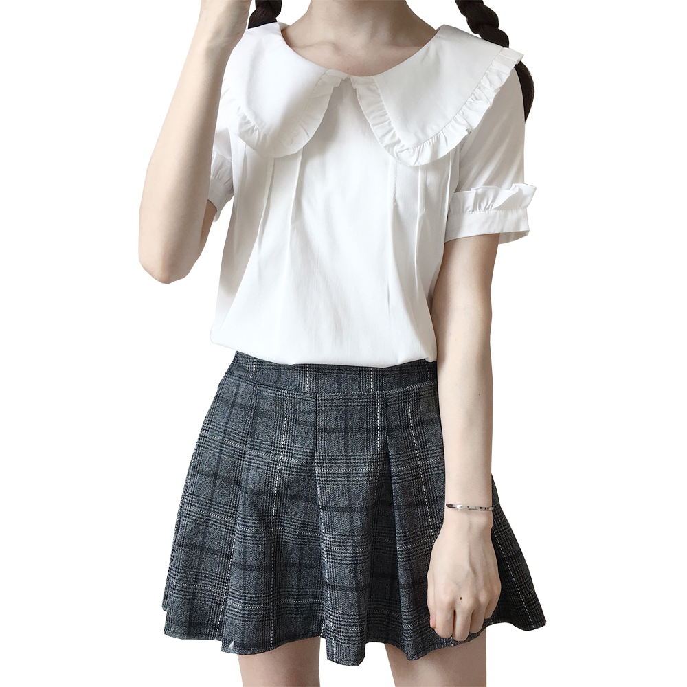 Korean Sweet Lolita   Blouses     Shirt   Short Sleeve Cute Peter Pan Collar White Ruffle   Blouse   Top Female Women's Back Buttons Blusas