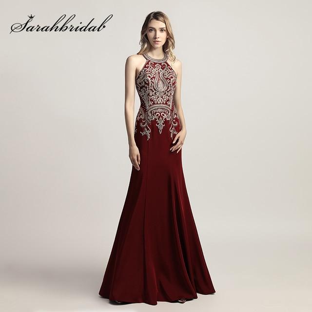 Hot Sale Burgundy Long Formal Evening Dresses New Arrival Satin ...