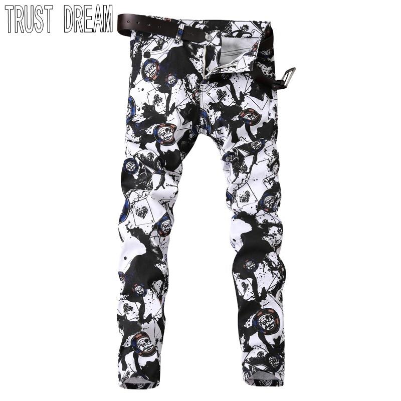 TRUST DREAM Europeans Style Men Colorful Floral Slim White Jeans Black Graffiti Print Personal Pant Men Street Club Jeans женские сапоги ecco 351123 14 11001 01220