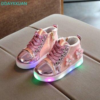Kinderen Schoenen Met Licht 2018 Nieuwe Peuter Mode Led Kids Schoenen Lichtgevende Gloeiende Sneakers Bloemen Baby Peuter Meisjes LED Schoenen