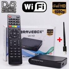 iBRAVEBOX V8 HD DVB-S2 Satellite TV Receiver Decoder Full HD support 7 Clines Italy Spain Arabic CCCam via USB RT5370 Wifi anten
