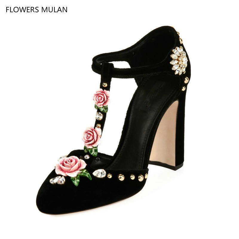 Floral Crystal Embellished Velevt Pumps Luxury Brand Block High Heels Wedding Party Shoes For Woman Pink Red Black Roses Sandals notch neck button embellished floral tee
