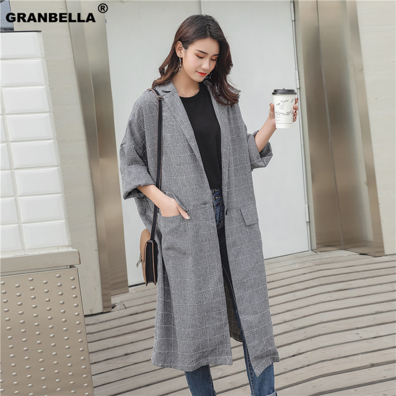Medium Long Batwing Sleeve Plaid Cloak   Trench   Sun Protection Clothing Female Spring Large Size Loose Thin Over Knee   Trench   Coat