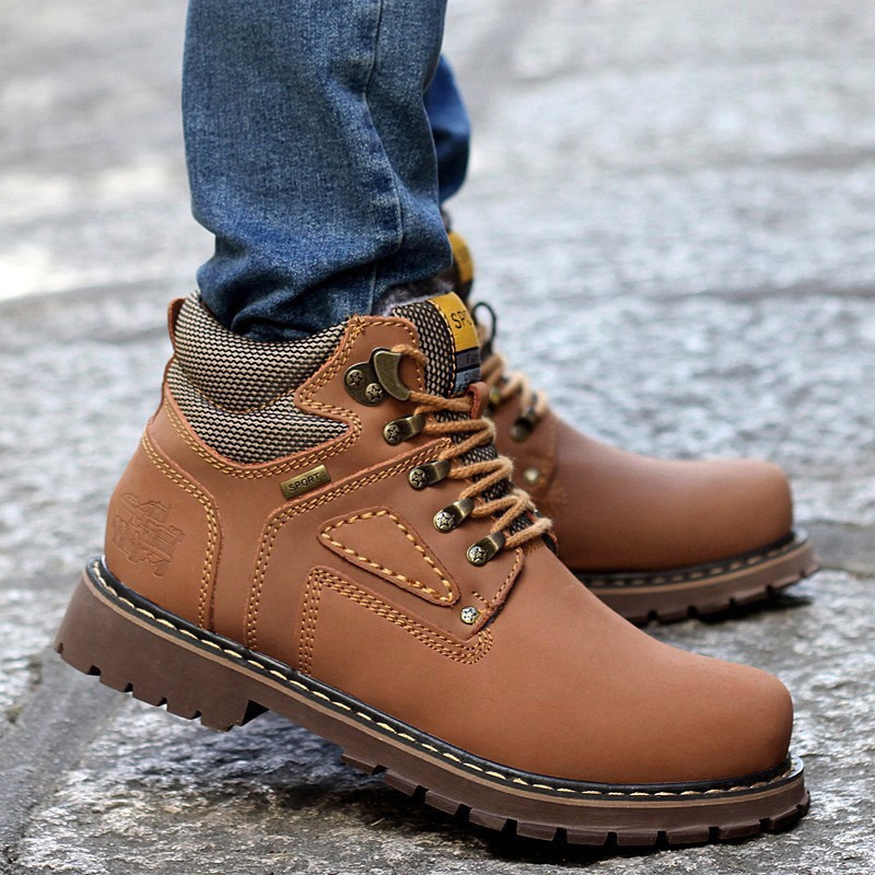 URBANFIND Lace-Up Men Fashion Boots EU 38-44 Durable Rubber Sole Man Nubuck Leather Ankle Shoes Brown / Yellow 2
