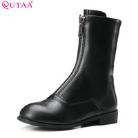 QUTAA 2018 Women Mid Calf Boots Pu Leather Square Mis Heel Zipper Round Toe All Match