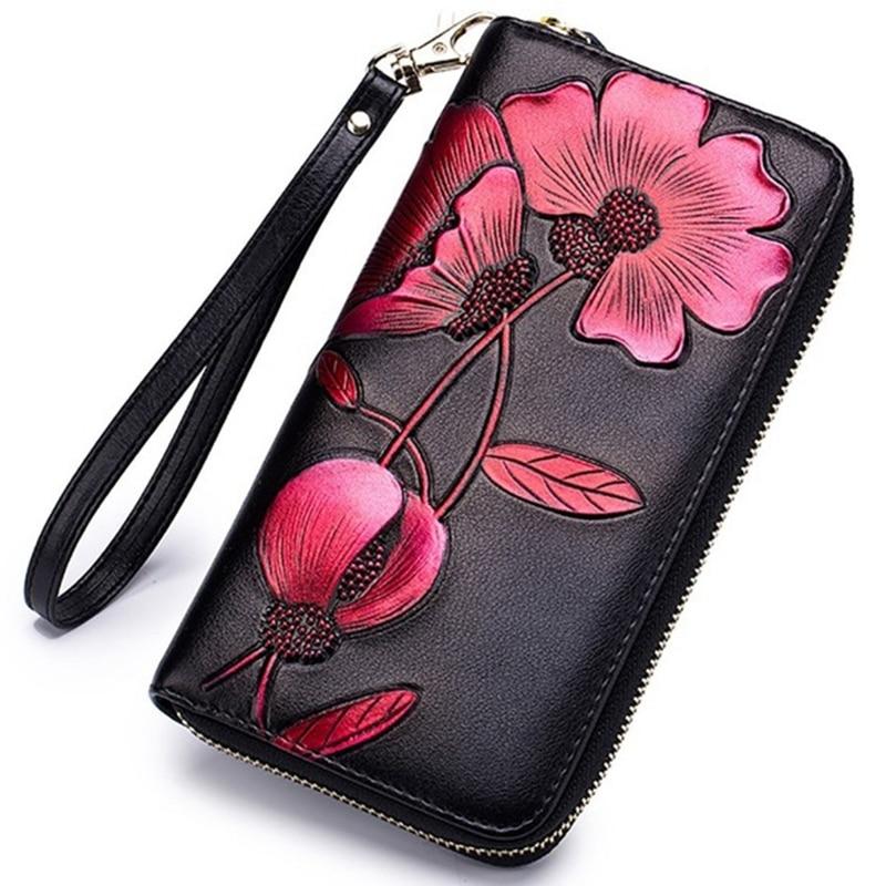 AUAU-Women'S Elegant Floral Leather Wallet Fashion Long Ladies Clutch Bag Multi-Function Coin Purse