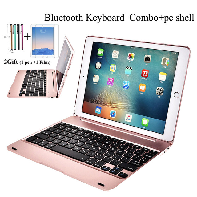 New For iPad 9.7 2017 2018 A1893 Wireless Bluetooth Keyboard Case Cover For iPad 5 / 6 / Air / Air 2 / Pro 9.7 Keyboard+Film+pen