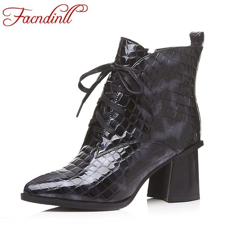 FACNDINLL genuine leather ankle boots for women new fashion short boots high heels pointed toe lace up women black riding boots facndinll new black patent genuine leather pointed toe rhinestone sexy high heels lace up women pumps ladies party casual shoes