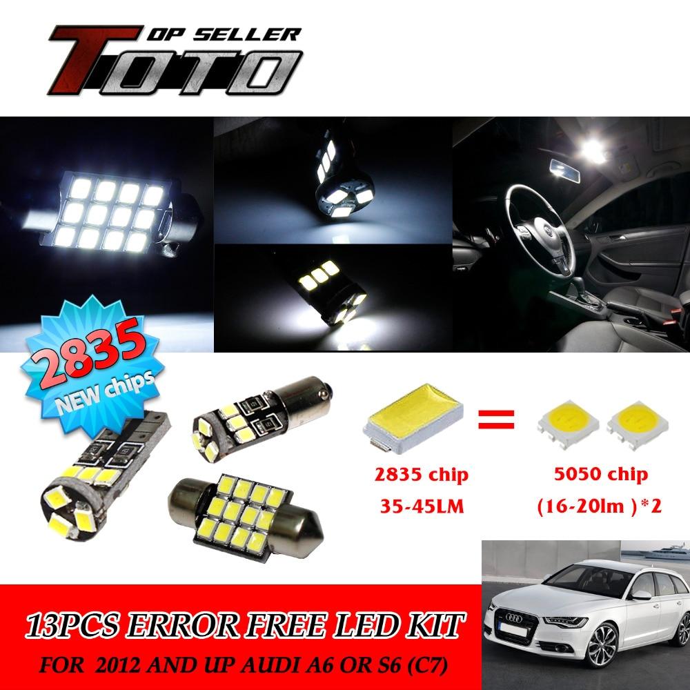 Подробнее о 14x LED Car Auto Interior Canbus Light White 2835 Newest Chips Kit For Audi A6 or S6 (C7) 2012 and up #65 20x led car auto interior canbus dome map reading light white 2835 newest chips kit for bmw e83 x3 2004 2010 81