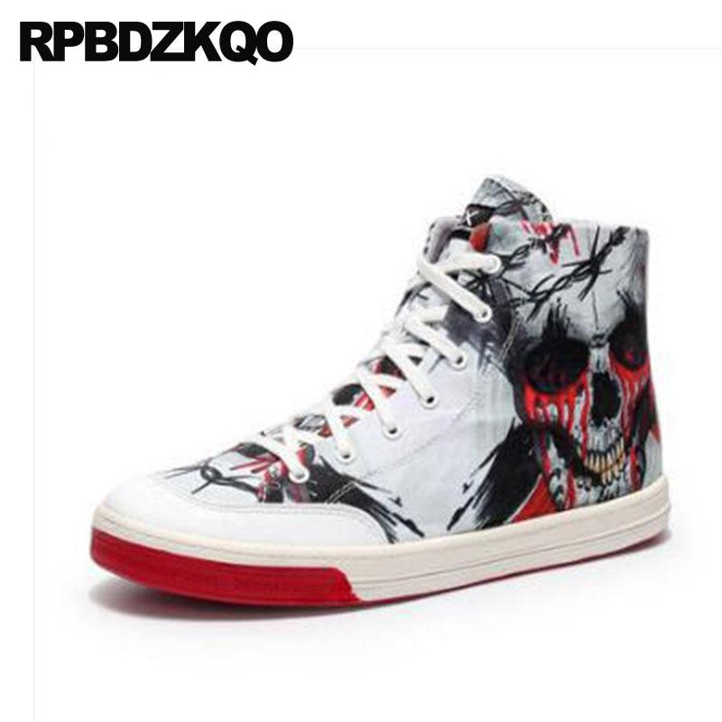 Hop Zapatos Flats Impreso De Verano Hombres Negro High Pintura Moda Cráneo Sneakers Grande Hip Lona Entrenadores Skate Transpirable blanco Tamaño Lujo Top qzUTcOnW4