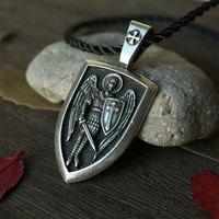 1pcs Archangel St Michael Protect Me Saint Shield Protection Charm 53x25
