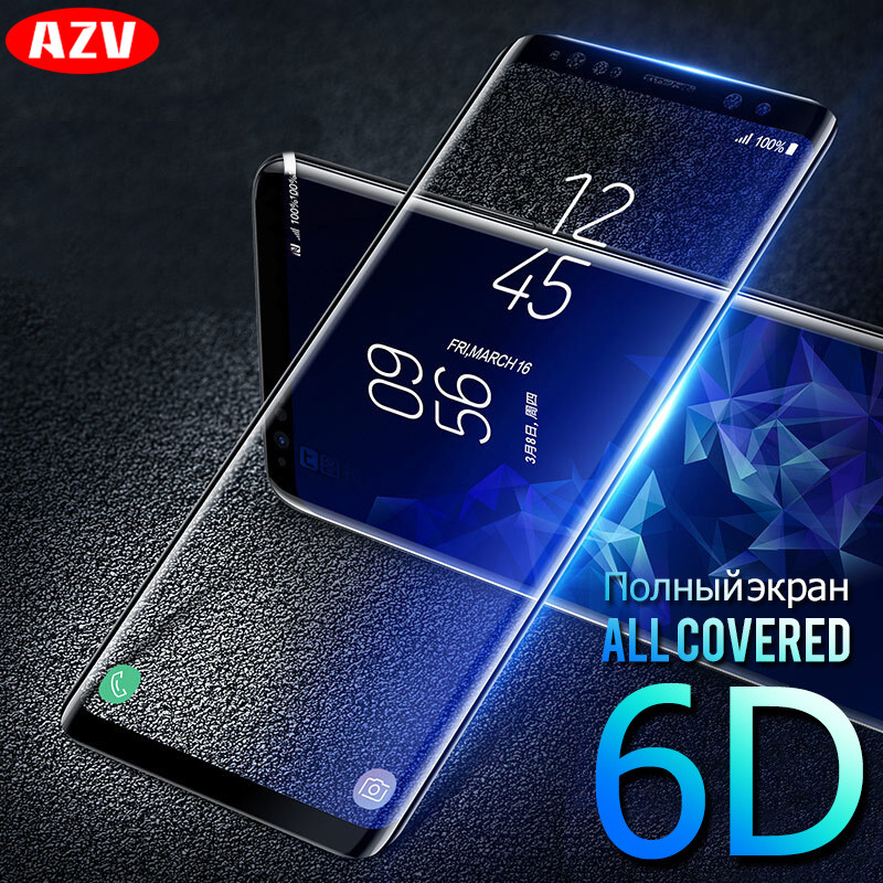 AZV 6D Screen Protector For Samsung Galaxy S8 S9 Note8 Curved Edge Glass For Samsung S9 S8 Plus S6 S7edge Plus Tempered Glass for s9 plus case soft tpu plating cover for samsung s9 case silm clear transparent case for samsung galaxy s8 s9 s7 s6 phone case