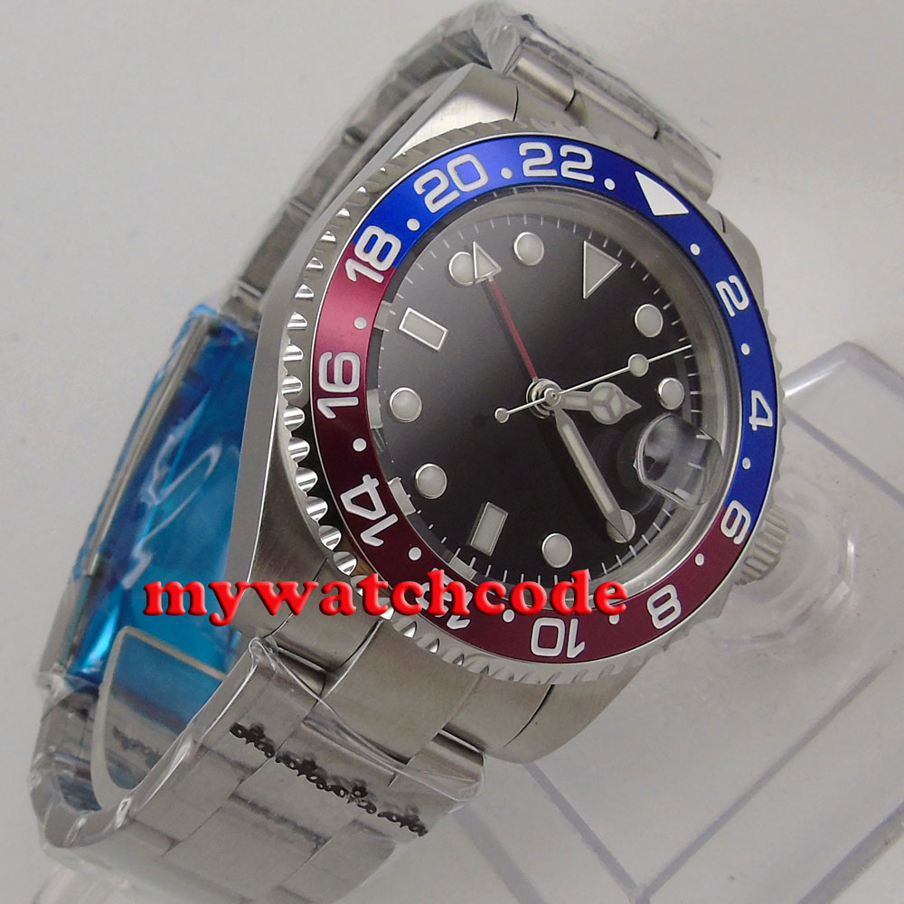 40mm bliger black dial sapphire glass GMT red blue Bezel date automatic mens watch B178 цена и фото