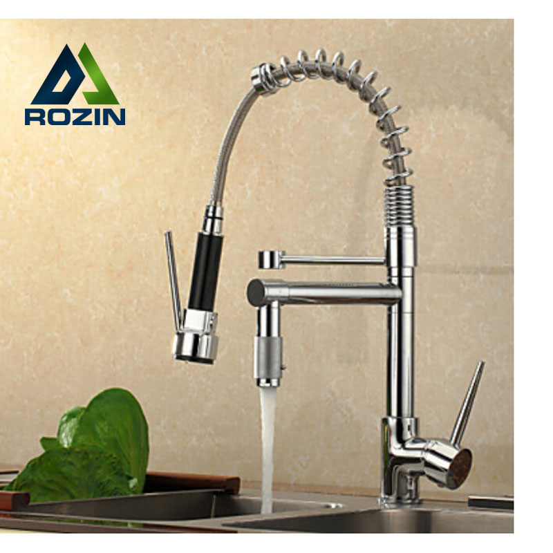 Double Spout Kitchen Mixer Faucet w Sprayer Hot and Cold Water Mixer Tap Chrome Finish