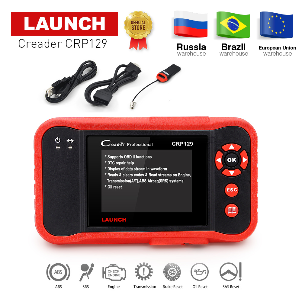 Launch X431 Creader CRP129 CRP123 Creader VIII OBD2 diagnostic tool for ENG/AT/ABS/SRS + EPB/Oil/SAS reset X431 CRP 129 Scanner
