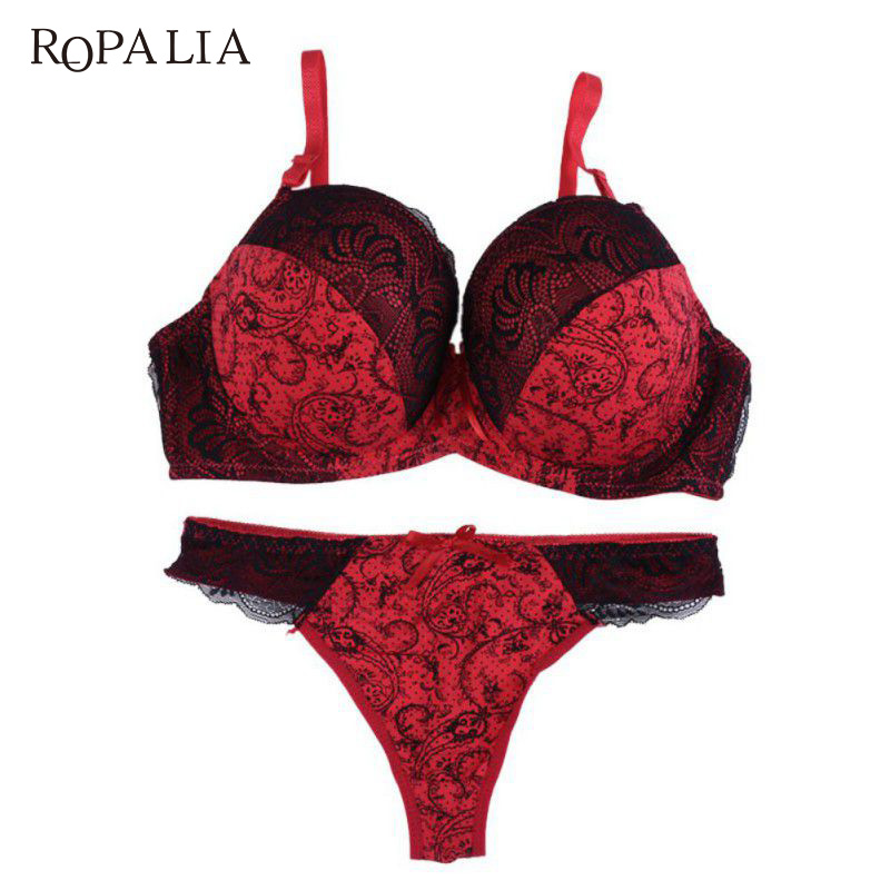ROPALIA Sexy Women Lace Embroidered Padded Lingerie Push up   Bra     sets   Underwire Lingerie   Set   Plus Size 34/36/38/40 D E Cup
