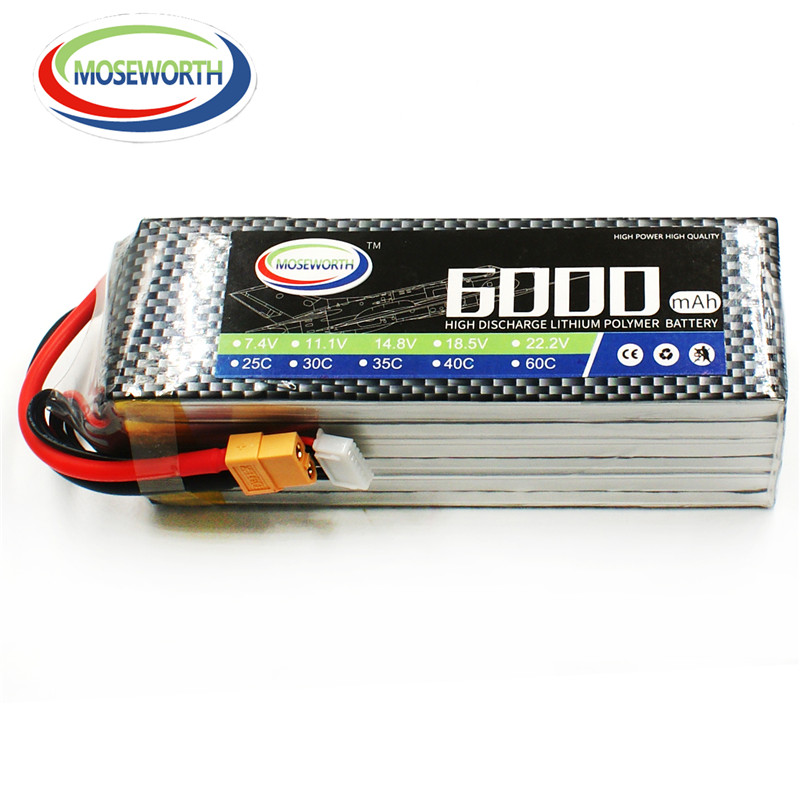 MOSEWORTH RC airplane Lipo battery 6S 22.2V 6000mAh 40C-80C for RC helicopter car boat quadcopter 6s li-po batteria 1s 2s 3s 4s 5s 6s 7s 8s lipo battery balance connector for rc model battery esc