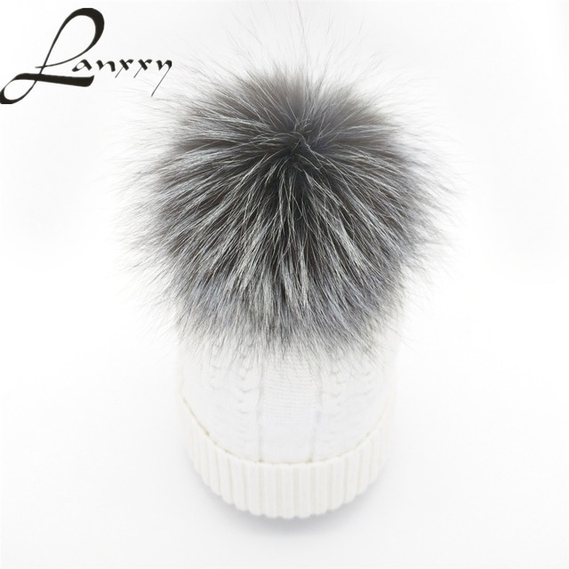 Lanxxy Fashion Real Silver Fox Fur Winter Fur Pompom Hat for Women Cashmere Wool Cotton Hat Pom Poms Beanies Cap Bonnet Gorro