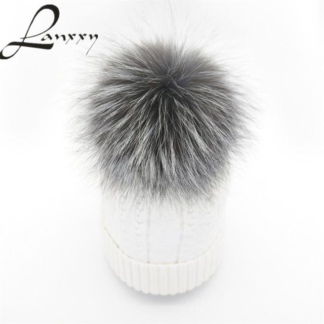 Lanxxy Moda Real Silver Fox Fur Pompom Chapéu De Pele de Inverno para mulheres Lã Cashmere Chapéu de Algodão Gorros Cap Bonnet Gorro Pom Poms