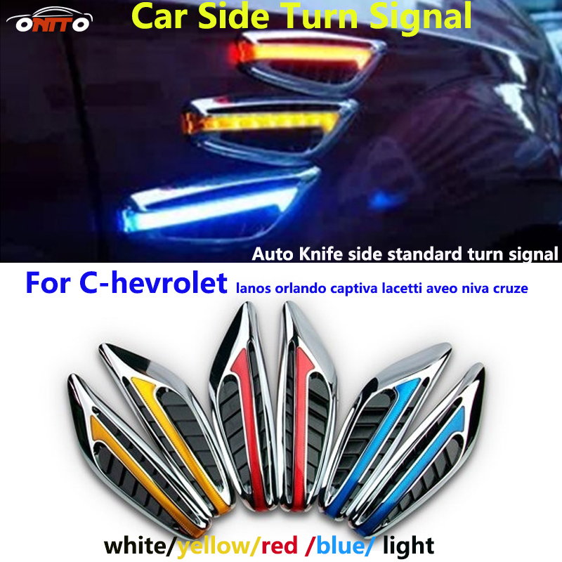 2pcs/lot for lanos orlando captiva lacetti aveo Chevy LED car side turn signal light indicator Blade Shape Fender signal Lamps