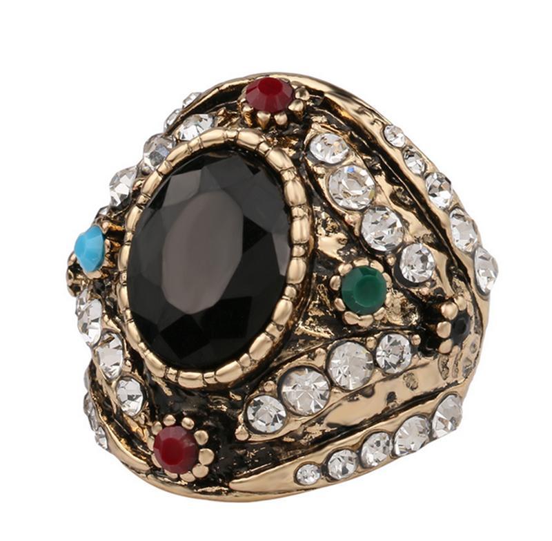 luxury vintage inlaid full rhinestone zink alloy wedding ring turkish jewelry anel rings anillo turco anies