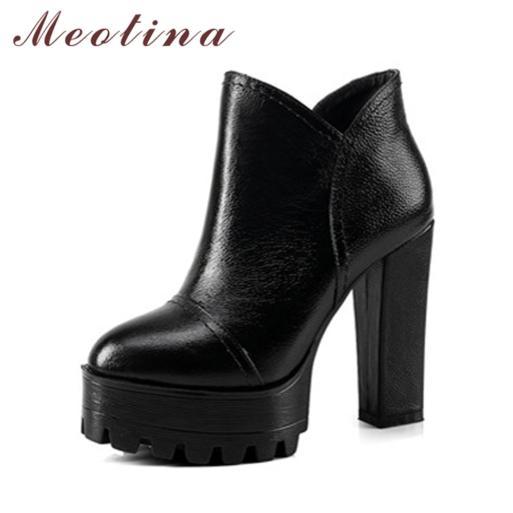 Meotina Genuine Leather Boots Women Ankle Boots High Heels Platform Shoes Autumn Winter Boots Zip Real Leather Botas Women Black