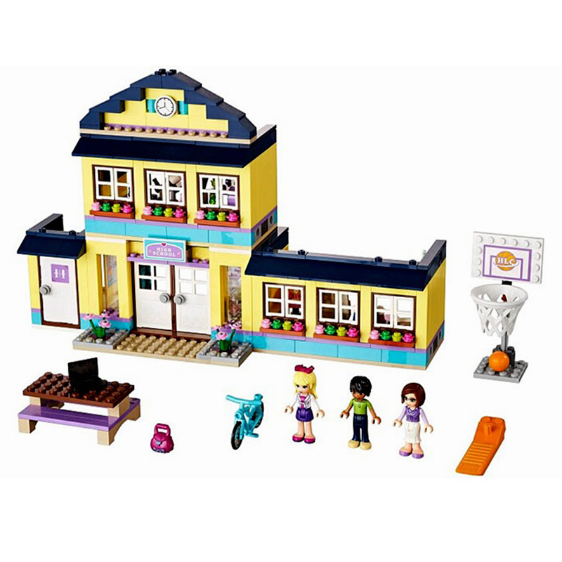 BELA 10166 Girls Friends Heart Lake City School Building Block Sets 489pcs Bricks toys For Children Gift Compatible  41005 compatible lepin city block police dog unit 60045 building bricks bela 10419 policeman toys for children 011