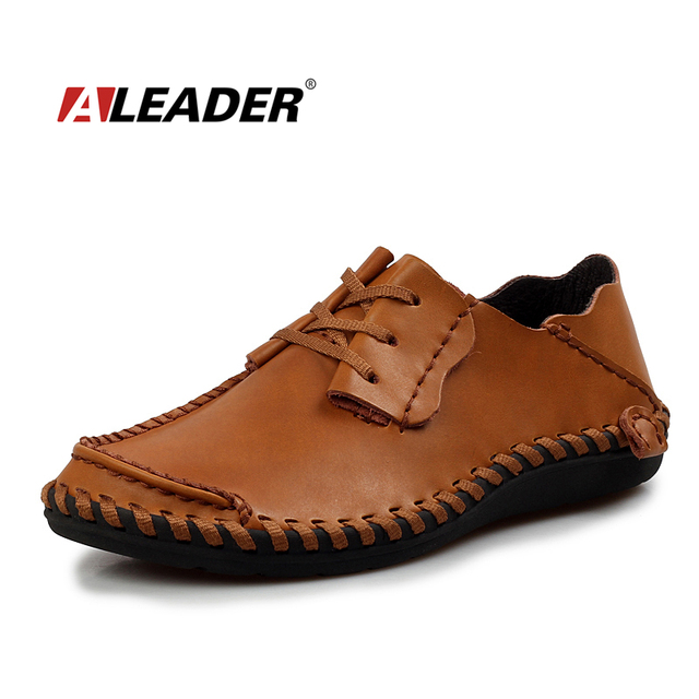 Hombres Zapatos de Cuero Casuales 2017 Otoño de La Manera Zapatos De Diseñador de Los Hombres Zapatos Ocasionales Respirables de Tamaño Grande Para Hombre Zapatos Cómodos Mocasines