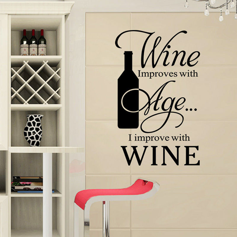 Buy removable quote wall sticker vinyl for Wine shop decoration