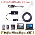 9mm de diâmetro de metal USB endoscópio sem fio Wi-fi câmera 720 p 6 LEVOU Android IOS telefone WiFi distância 30 M endoscópio IP67 waterproo câmera