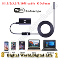 9mm dia metal USB wireless WiFi endoscope camera 720p 6 LED Android IOS phone WiFi distance 30M IP67 waterproo endoscope camera