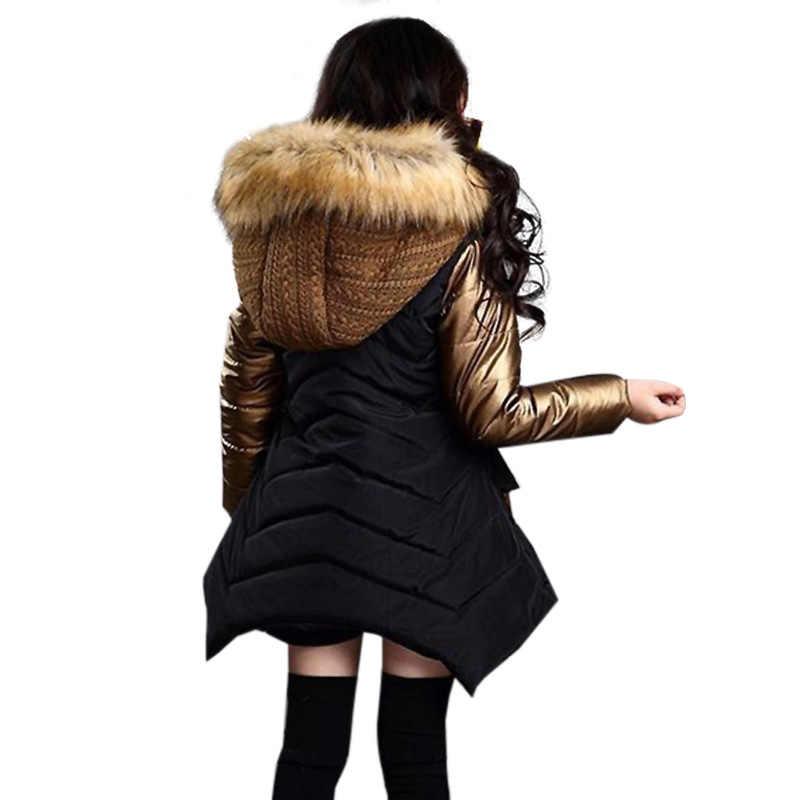 Коллекция 2018 года, модная зимняя куртка для девочек Новая брендовая стильная длинная детская парка с меховым капюшоном Детская Хлопковая теплая пуховая одежда верхняя одежда
